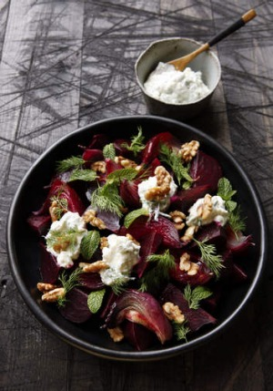 Slow-roasted beetroot with feta yoghurt.
