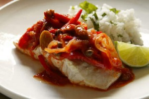 Mexican baked fish with chilli and lime.