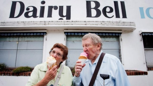 Cold comfort: Lorraine and Graham Browne eat one last Dairy Bell ice cream.