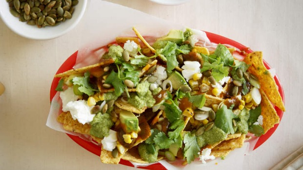 Frank Camorra's nachos with feta and chipotle sauce.