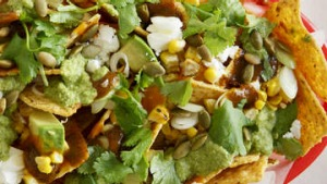 Frank Camorra: Nachos with feta and pepita sauce.