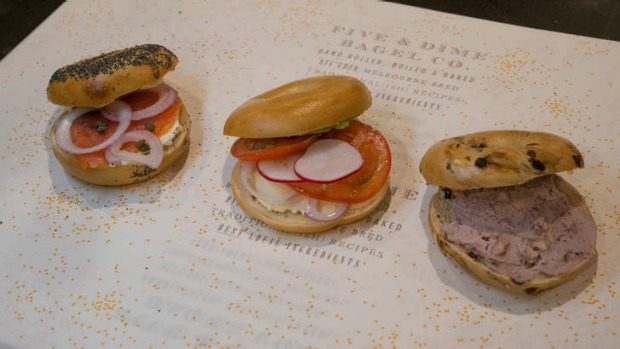Orted Sweet And Savoury Bagels At 5 And Dime Bagels