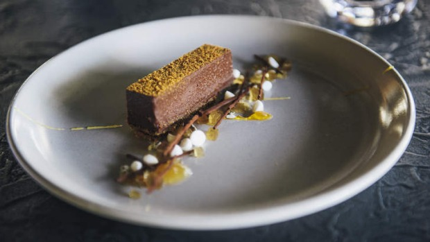 Intriguing: Chocolate tart with mini fennel meringues.