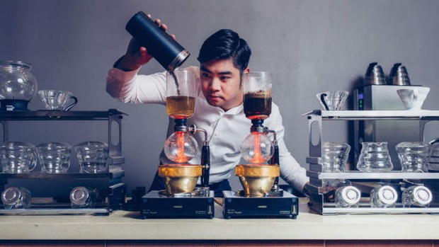 Brewristas owner Kevin Ly makes a filter coffee.