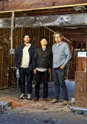Russell Beard, Ping Jin Ng and Mark Dundon at the site that will become Paramount Coffee Project in Los Angeles.
