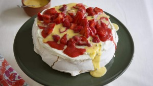 Make ahead dessert ... Pavlova with passionfruit curd.
