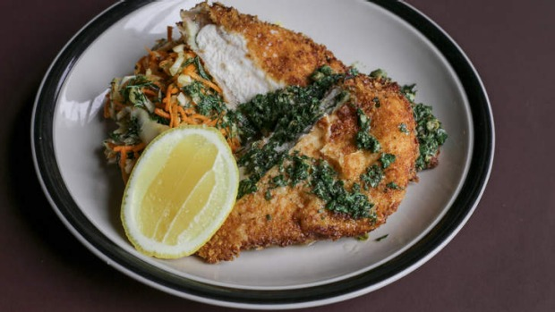 Counter meal: chicken schnitzel at Marquis of Lorne.