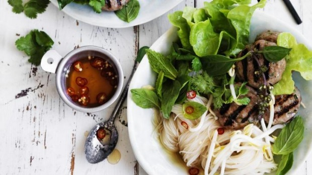 Rice noodles with Vietnamese pork patties is a perfect summer dish