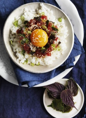 Neil Perry's finely chopped tuna on rice.