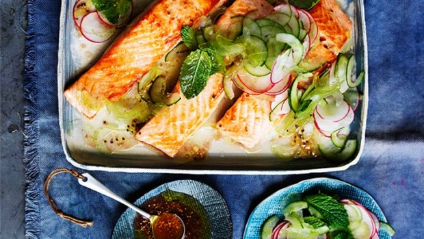 Use salmon or another firm-fleshed fish for this simple summer dish.