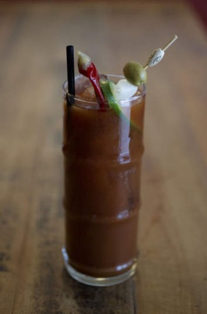 The sausage vodka bloody Mary.