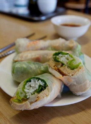 Rice Paper Rolls With Mock Pork And Prawns At Duy Linh