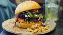 Nam khao tod sandwich at Boon Cafe.
