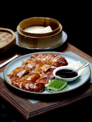 Mr Wong's Peking duck with pancakes.
