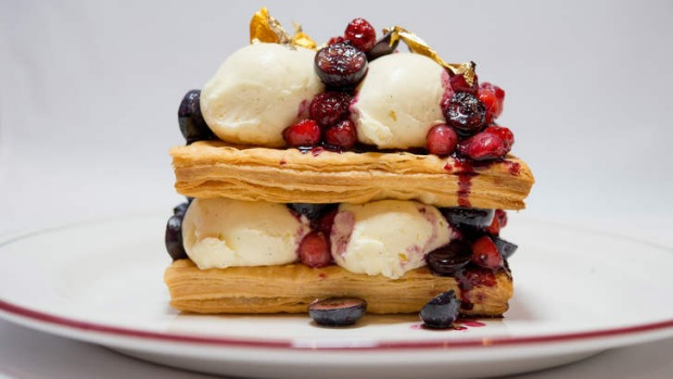 A towering millefeuille dessert.