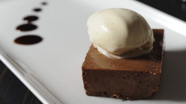 Valrhona chocolate pave with coffee ice-cream.