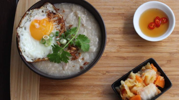 The congee with chicken is an alternative to standard brunch fare.