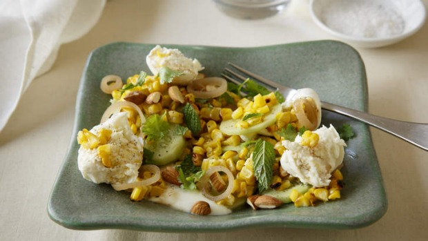 A simple lunch or mid-week dinner idea: Barbecued corn salad with buffalo mozzarella.