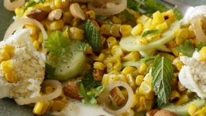 Barbecued corn salad with buffalo mozzarella.