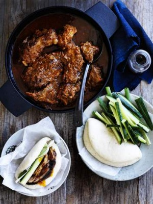 Bao filling: Spiced pork with miso and apple.