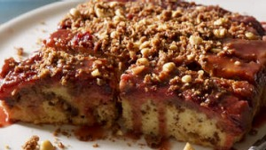 Plum and hazelnut streusel cake.