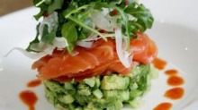 Citrus-cured salmon, avocado, pickled cucumber and fennel salad at Hyams Beach Store and Cafe.