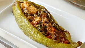 Bull-Horn chilli stuffed-with preserved lemon freekah.