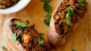 Sweet potato stuffed with spiced lamb.