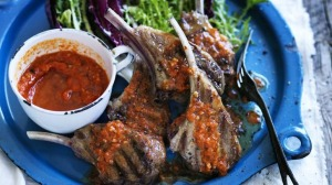 A saucy duo: Grilled lamb with romesco sauce.