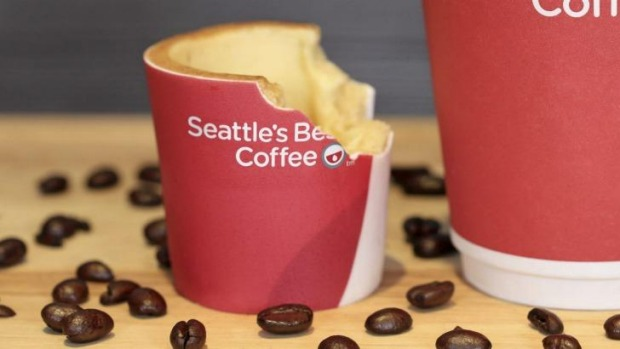 The Scoff-ee cup is lined with heat-resistant  white chocolate.