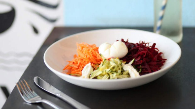 Egg and veg: Breakfast salad with Arzak-style egg.