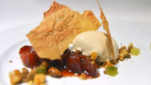 "A dish from Prix Fixe's ""Hansel and Gretel"" menu: Quince,gingerbread, macadamia crumble."