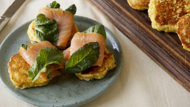 Oat pancakes with smoked salmon.