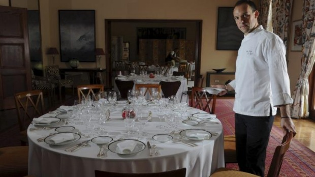 Chef, Jean-Marie Le Rest, in the dining room at the French Embassy in Yarralumla.
