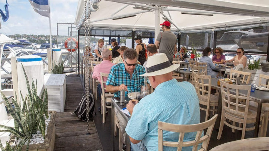 Relaxed, yachty feel: Chiosco's deck dining area.
