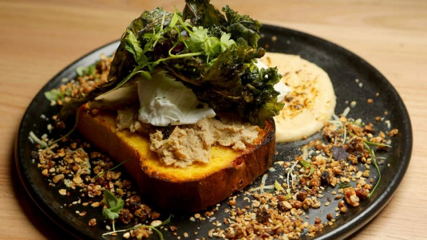 Duck rillettes on pumpkin brioche with crisp kale.