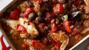 Baked poussin (or chicken) with tomato, sherry, fennel seeds, bay and olives.