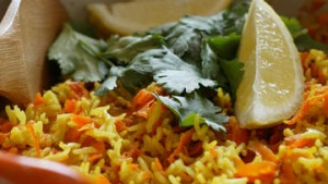 Carrot and corriander pilaf.