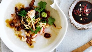Prawn and ginger congee.