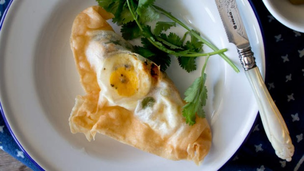 Street food: Brik pastry with tuna and egg.