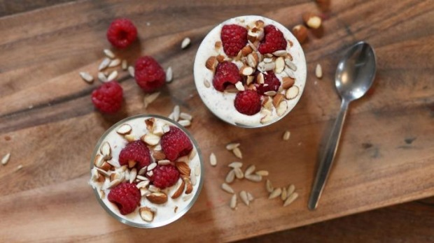 Arabella Forge's chia pudding with berries, nuts and seeds.