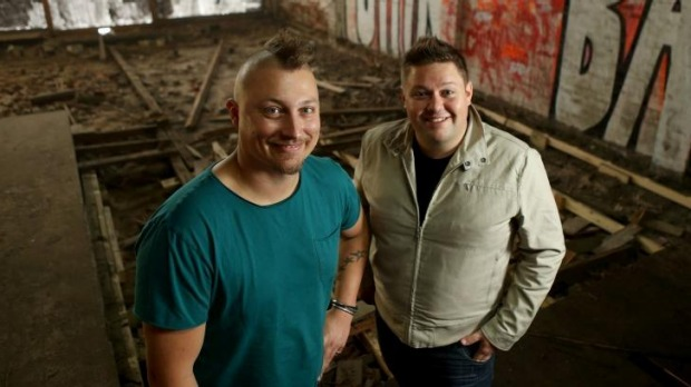 Chefs Benjamin Cooper (left) and Damian Snell look through the Hawker Hall site.