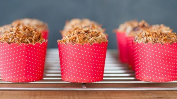 Coconut, banana and cherry muffins with teff (recipe below).