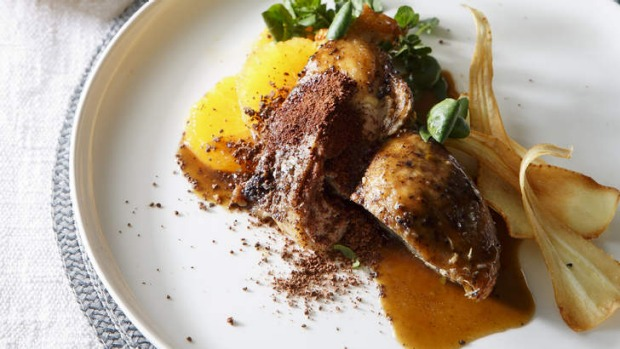 Twice roasted duck with salted orange, cocoa nibs and coffee.