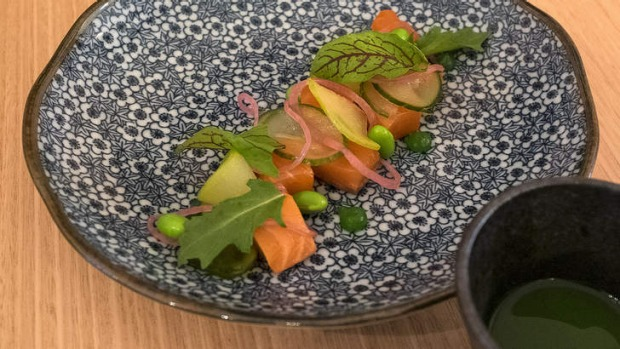 Cool as a cucumber: Cured ocean trout with cucumber water at Tokyo Tina.
