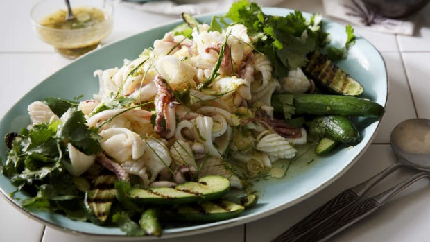 Zingy and fresh: Thai spicy lime and chilli squid salad.