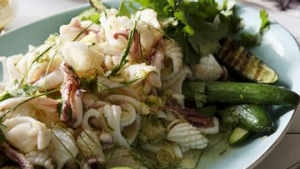 Thai spicy lime and chilli squid salad with charred cucumber.