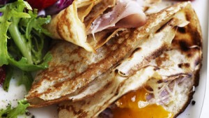 Egg, Ham and Gruyere Crepes.