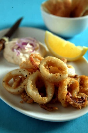 Fried calamari with smoked salmon tarama.