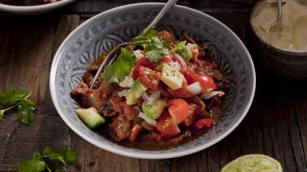 Chilli with black beans, avocado and sour cream.